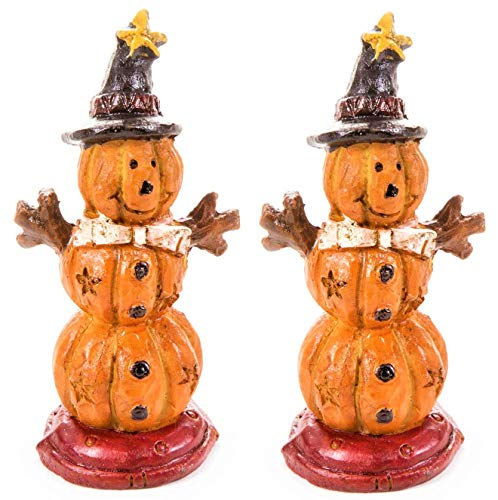 Set of Two (2) Halloween Fall Snow Man-Shaped Stacked Pumpkins Figurine - 2.6-inches - for Outdoor or House Decor, Dollhouses, Shadow Boxes, Fairy Gardens, or Craft Projects - Bundle of 2-Items ()