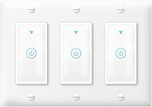 Smart Light Switch,Touch WiFi Smart Switch Compatible with Alexa Google Home and IFTTT,Timer and Remote Control,No Hub Required(3 Gang)