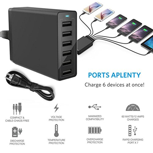 Multi 6-Port USB Charger 12A 60W Rapid Charging Station Desktop Travel Hub For iPhone Durable -