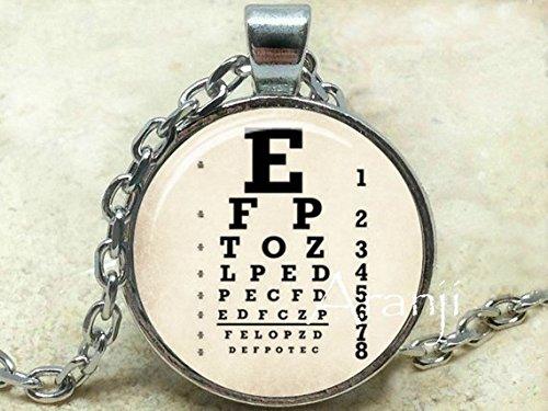 Vintage Eye Chart Art Pendant, Eye Chart Necklace, Snellen Chart Necklace, Eye Chart, Vision Test Pendant, Ophthalmology