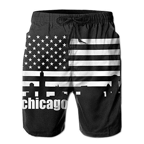 J,CORNER Men Chicago Skyline American USA Flag Summer Quick-drying Swim Trunks Beach Shorts Cargo Shorts - Flag Shorts Chicago