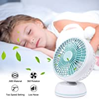 USB Desk Fan, Quiet 7 Inch Fans with 3.2 FT Retractable USB Cable, 360 Degree Rotation, 2 Speed Setting for Office Home Outdoor