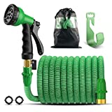 Panom Garden Hose, 50 Feet Expandable Water Hose with 8 Pattern Spray Nozzle And Holder (Green)
