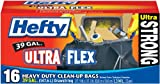 Hefty Ultra Flex Heavy Duty Clean-Up, 39 Gallon Bags, 16 Count Boxes (Pack of 6)