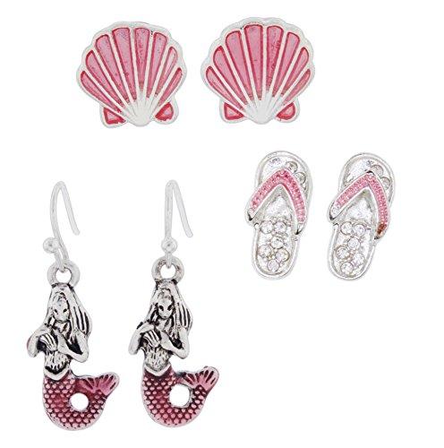 Porpoise Earring (Set of 3 Pair Assorted Periwinkle Post Earrings - Pink Sea Shell, Flip Flops, & Mermaids)