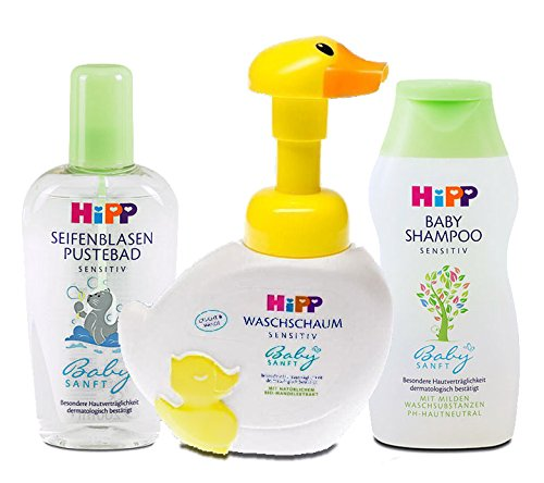 HiPP Baby Shampoo, Body Wash, and Bubble Bath Set: Tear-Free, Gentle and Hypoallegenic