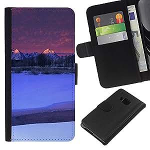 KingStore / Leather Etui en cuir / HTC One M9 / Naturaleza de Moutnain Consejos