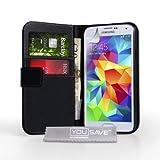 Caseflex Samsung Galaxy S5 Case Black Genuine Leather Wallet Cover
