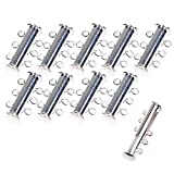 KLOUD City 10Pcs Silver Plated Multi Strand Slide Magnetic Tube Clasps for Necklace Jewelry Findings (10 Pcs Silver 3 Strands)