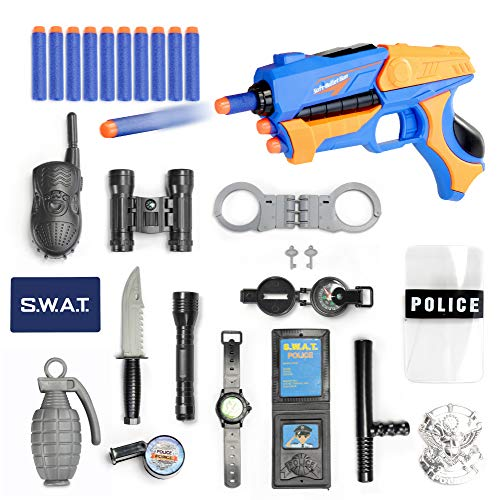 Police Role Playing Toy Kits, SWAT Detective Spy FBI Cops and Robber Game Gear Including Badges, Guns, Batons, Handcuffs, 25 Pieces