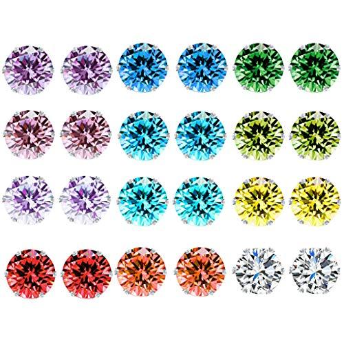 (VIccoo Earrings,12 Pair Rainbow AAA Cubic Zircon Stud Earring Birthstone Crystal Fashion Jewelry)