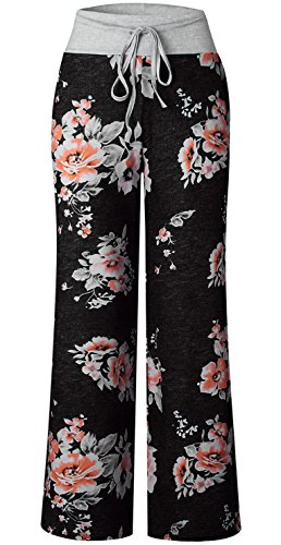1088392914 Elsofer Women s Pajama Lounge Pants Floral Print Comfy Casual Stretch  Palazzo Drawstring Pj Bottoms Pants Wide