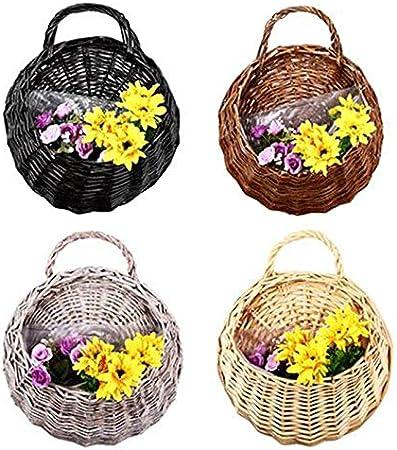 1* Wall Hanging Flowers Basket Bird Nest Wicker Gardening Home Decor O2V1