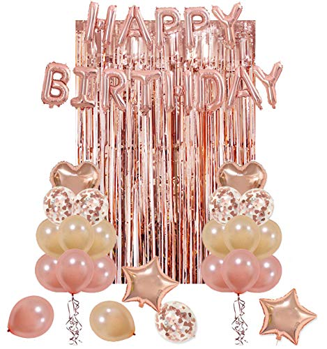 UTOPP Rose Gold Birthday Party Decorations Kit, Happy Birthday Balloons Banner, Heart & Star Foil Balloons, Latex Confetti Balloons, Rose Gold Metallic Foil Fringe Curtains Photo Backdrop