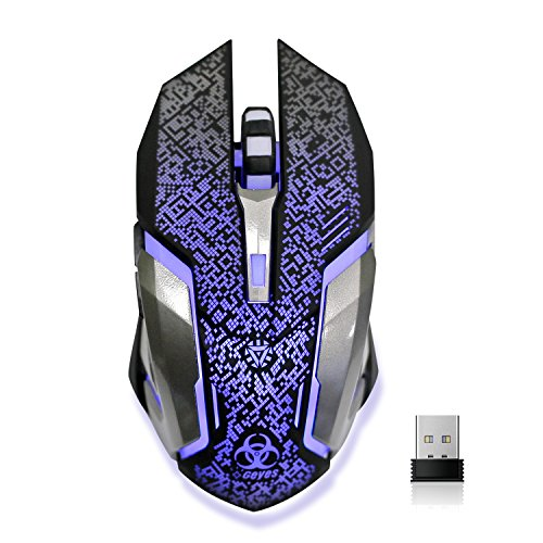 Wireless Gaming Mouse, VEGCOO C8 Silent Click Wireless Rechargeable Mouse with Colorful LED Lights and 2400/1600/1000 DPI 400mah Lithium Battery for Laptop and Computer (C9 Sliver)