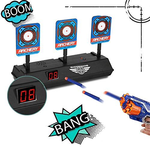 AckfulElectronic Digital Target for Nerf Guns N-Strike Elite/Mega/Rival Series - Auto-Reset Intelligent Light Sound Effect Scoring Targets Toys ()
