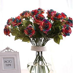 Leegoal(TM) Wholesale Artificial Silk Latex Rose Flowers Wedding Bouquet Bridal Decoration Bundles Real Touch Flower Bouquets Realistic Flower Bouquet(Colorful,10Pcs) 66