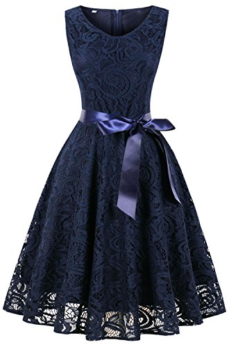 C75 Lace Party Women Short Vintage Blue Dresses for Bridesmaid Navy Wedding ANCHOVY Sleeveless Dress Pz6w5ffq