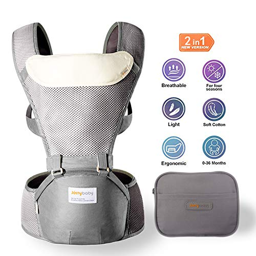 Jerrybaby Baby Carrier with Hip Seat- 2 in 1 Lightweight & Ergonomic Baby Waist Seat for 0-36 Months, Grey (Best Baby Carrier For Hip Development)