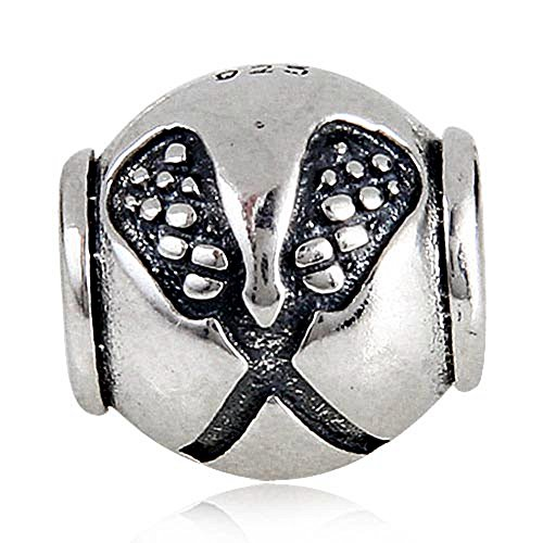 Sports Charms (Lacrosse Sport Charms Sports Bead European DIY Jewelry Findings)