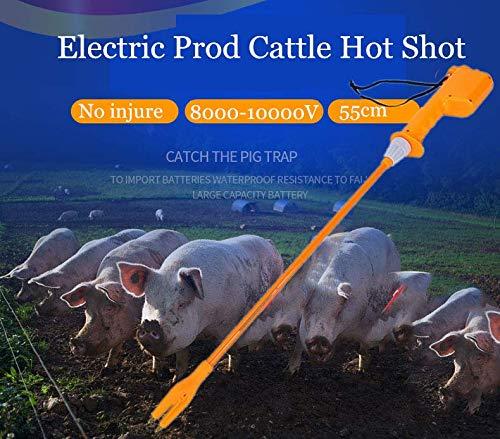 DENESTUS 55cm Cattle Prod Rechargeable Hot Shock and Electric Hand Animals Livestock Farm Cattle Pig Prodder Farm Safety Prodder Durable Handle US Stock
