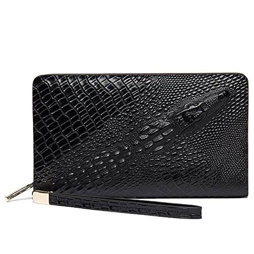 D1013 business first crocodile handbag clutch layer leather DANJUE Black pattern bag casual vqwdSff