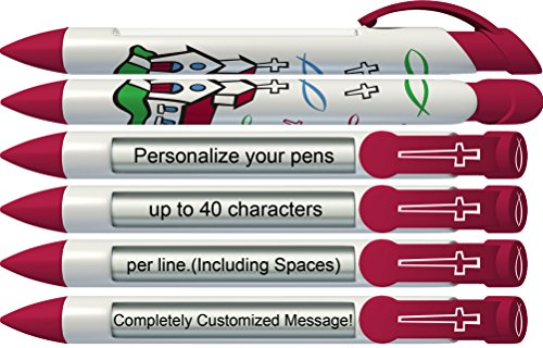 - Greeting Pen Personalized Country Chapel Christian Inspirational Rotating Message Pen - 6 Pack (P-CC-201-6)