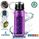 Moveo Water Bottle All-in-ONE - Fruit Infuser - Blender Bottle - Water Cup & Pill Box - Water Bottle Filter [Addition] - Water Case [Addition] BPA Free Tritan Material (Bottle Purple with Filter)