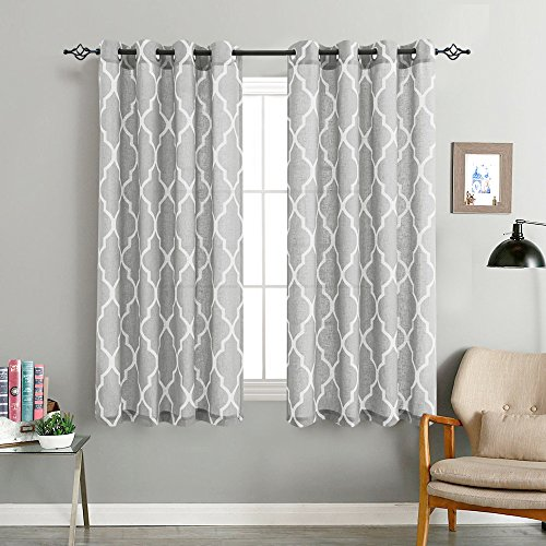 jinchan Quatrefoil Linen Blend Curtains - Moroccan Tile Pattern Print Curtain Window Curtain Panels for Living Room Geometry Lattice - 50