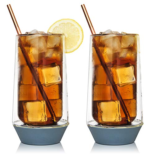 Eparé Highball Long Glasses - 13oz High Drinkware - Set of 2 - Cocktail Glassware - Thick Silicone Base Tumbler