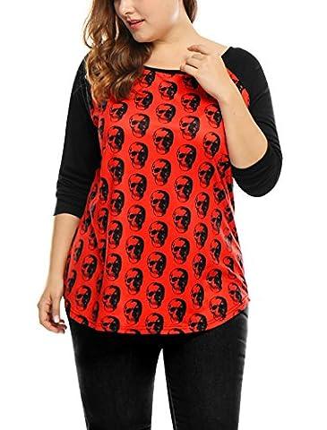 Agnes Orinda Women Plus Size Contrast Color Skull Prints Raglan T-Shirt 1X Red - Plus Size Print Jersey