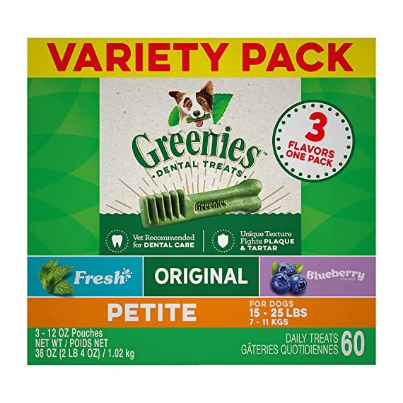 Greenies Dog Dental Chews Dog Treats - Petite Size (15-25 lb Dogs) 1 The unique texture of GREENIES Dog Chews cleans down to the gumline to fight plaque and tartar and freshen breath GREENIES Treats for Dogs are veterinarian recommended and accepted by the Veterinary Oral Health Council (VOHC) Treat your dog fantastically with three GREENIES Treats varieties: Original Flavor, Fresh Flavor and Blueberry Flavor
