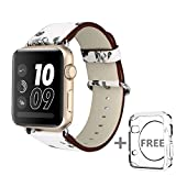 Solomo for Apple Watch Band 42MM,[Flower Series] Leather Fresh Pastoral Style Replacement iWatch Strap Women/Girls Wristband with Stainless Metal Clasp for Apple Watch Series 3,Series 2/1 (White)