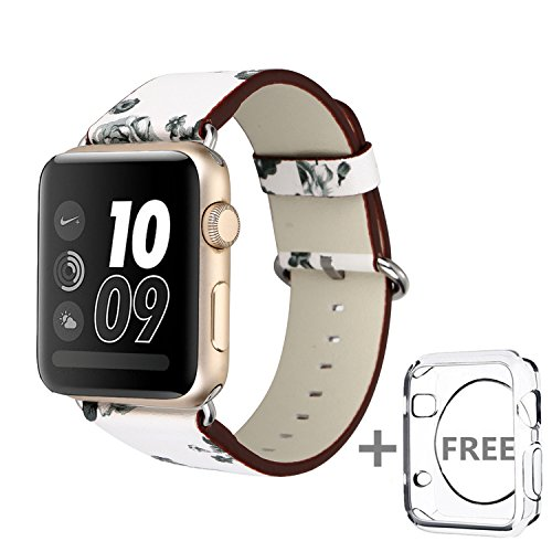Solomo for Apple Watch Band 42MM,[Flower Series] Leather Fresh Pastoral Style Replacement iWatch Strap Women/Girls Wristband with Stainless Metal Clasp for Apple Watch Series 3,Series 2/1 (White) by Solomo