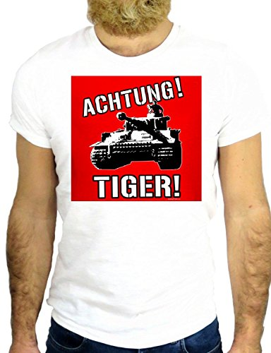 T SHRIT Z0006 ACHTUNG TIGER TANK USA WORLD WAR USA AMERICA ARMY COOL NICE GGG24 BIANCA - WHITE S