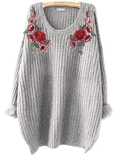 SweatyRocks Women's Embroidered Flower Oversized Knit Casual Loose ...