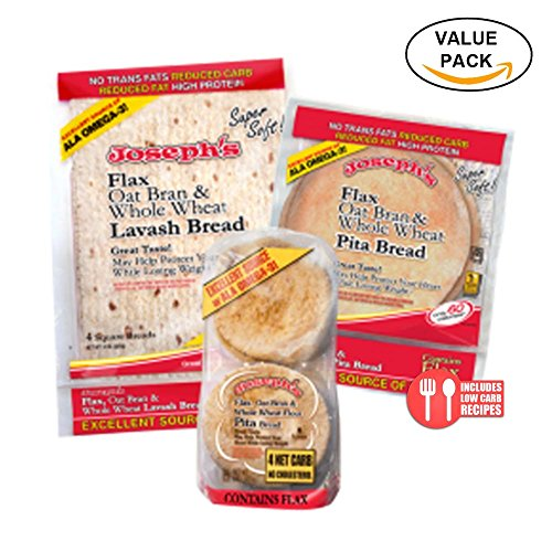 Combo Value Pack: Joseph's   Flax   Oat Bran & Whole Wheat Reduced Carb Low Carb Pita Bread, Lavash Bread, and Mini Pita