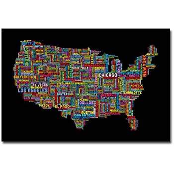 Amazoncom Trademark Fine Art US Cities Text Map VI By Michael - Us map canvas wall art