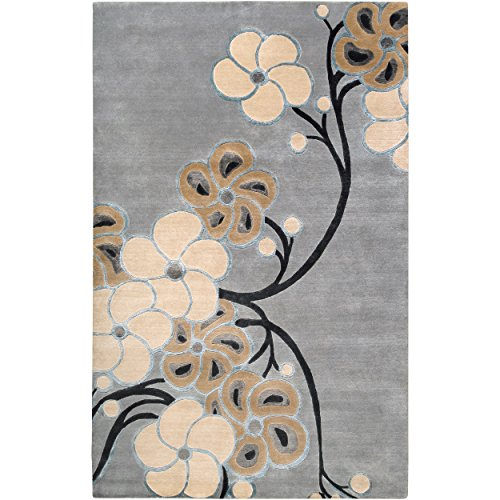 Transitional Floral Gray Wool (Smithsonian by Surya Heritage HTG-1003 Transitional Hand Knotted 100% Semi-Worsted New Zealand Wool Gray Blue 2' x 3' Accent Rug)