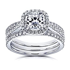 Cushion Forever One Colorless (D E F) Moissanite and Diamond 1 3/5ct TGW Halo Bridal 3 Piece Set in 14k White Gold