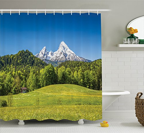 Outdoor Shower Curtain Set Room Decorations by Ambesonne, Bavarian Alps With Village Of Berchtesgaden and Watzmann Massif, National Park Germany, Bathroom Accessories, with Hooks, 69W X 70L (Bavarian Village)
