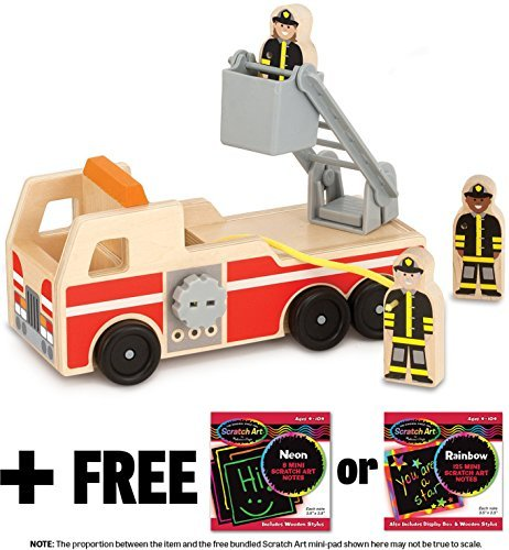 Wooden Fire Truck + FREE Melissa & Doug Scratch Art Mini-Pad Bundle [93910]