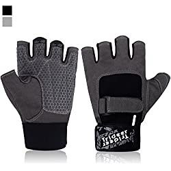 Trideer Ultralight Workout Gym Gloves, Light Microfiber & Anti-Slip Silica Gel Grip Glove for Weight Lifting, Training, Fitness, Bodybuilding and Exercise Men & Women(Grey XS (Fits 5.9-6.6 Inches))