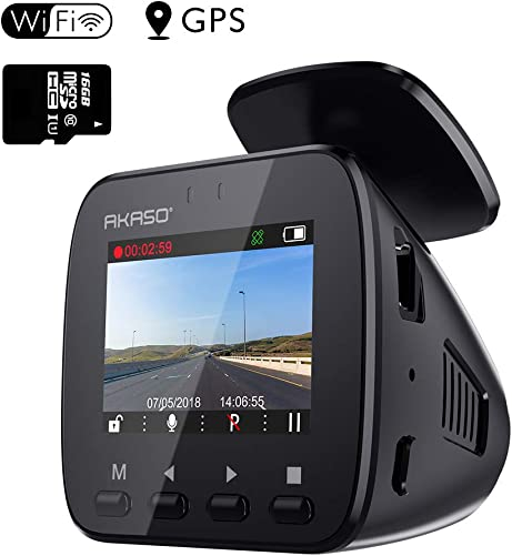 AKASO V1 WiFi Dash Cam with GPS, 1296P Full HD Dash Camera for Cars with 16GB Memory Card Included Phone App 170 Wide Angle Super Night Vision Loop Recording G-Sensor Parking Monitor