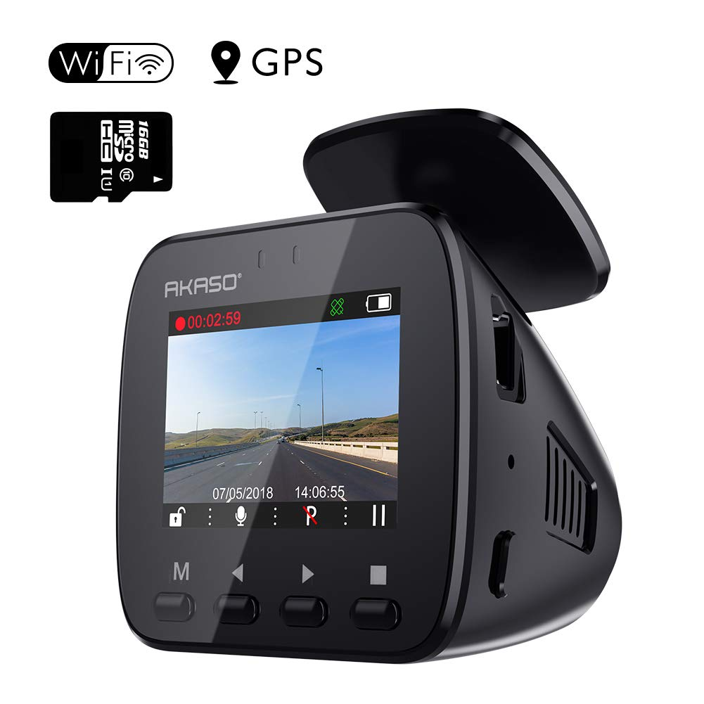 AKASO V1 WiFi Dash Cam with GPS, 1296P Full HD Dash Camera for Cars with 16GB Memory Card Included Phone App 170° Wide Angle Super Night Vision Loop Recording G-Sensor Parking Monitor by AKASO