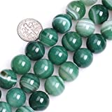SHG Store Selectable Stripe Sardonyx Agate Strand 15 Inch Beads for Jewelry Making Beads (14mm, Round Green)