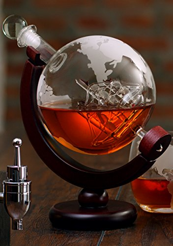 The Wine Savant Etched World Globe Decanter with Antique Ship (Mahogany Stained Wood) by The Wine Savant