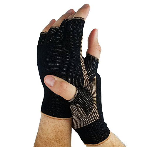 Copper Compression Comfort Gloves - Helps Arthritis Speeds Recovery in Hands & Fingers, Relieve Symptoms of Arthritis, RSI, Carpal Tunnel, Tendonitis & More - Men & Women - 1 Pair