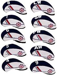 LEIPUPA 10pcs/Pack Wedge Iron Head Covers Neoprene Big Number Tags The Union Jack
