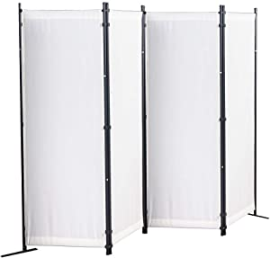 Partition Room Divider,4 Panel Room Dividers,Privacy Screen,Temporary Wall Divider for Home Office Hospital School Dorm(Cream White)